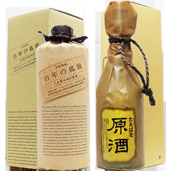 黒木本店 箱入り焼酎 芋麦四合瓶二本ギフトセット (たちばな原酒・百年の孤独)